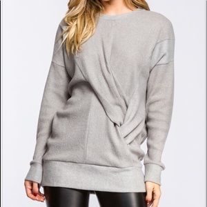 Twist-front sweater in Lt Gray